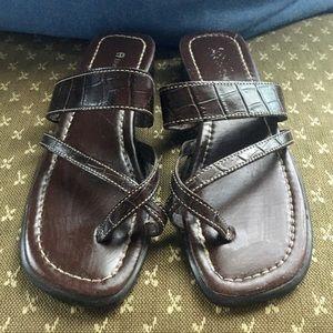 Etienne Aigner Brown Leather Sandals Sz 6.5